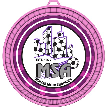 Girl's Pink Custom Soccer Medal with Custom Logo